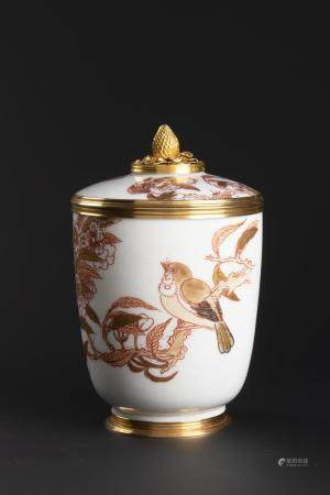 A GOLD-MOUNTED CHOCOLATE CUP WITH LID