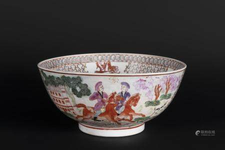 A FAMILLE ROSE 'HUNTING SCENE' PUNCH BOWL