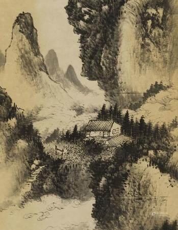 HU PEIHENG (1892-1962) LANDSCAPE WITH ROCKY OVERHANG