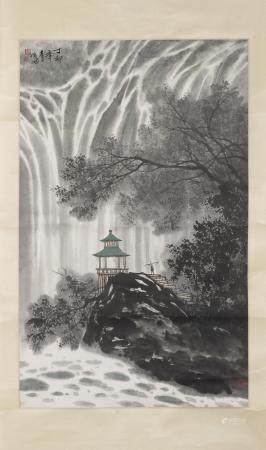 ZHANG JUNGUO (B. 1945) A PAVILION BENEATH THE WATERFALL