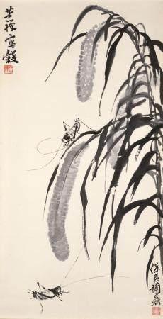 LI KUCHAN (1899 - 1983) & SONG BAOCHEN (B. 1931) TWO CRICKETS UNDER WHEAT STALKS