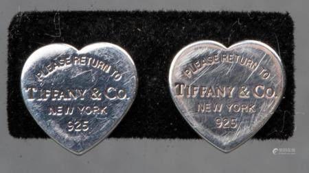Tiffany & Co. 925 Silver Stud Heart Earrings