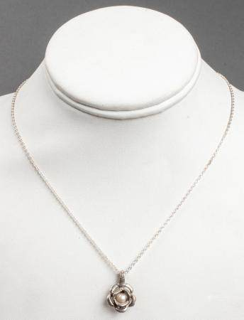 Silver Cultured Pearl Rose Pendant Necklace