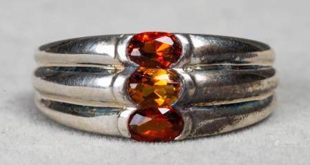 Modern Sterling Silver Triple Citrine Ring