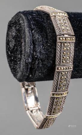 Vintage Sterling Silver & Pyrite Link Bracelet