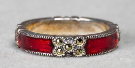 Sterling Silver Marcasite & Enamel Eternity Ring