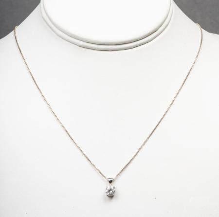 Sterling Silver Cubic Zirconia CZ Pendant Necklace