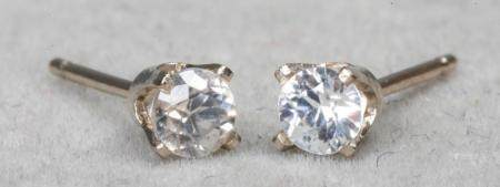 14K White Gold White Zircon Stud Earrings