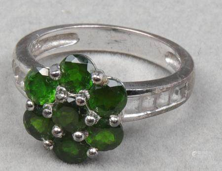 Sterling Silver Synthetic Emerald & Topaz Ring