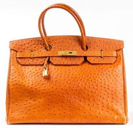 Ostrich-Print Leather 40cm Handbag