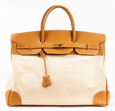 Tan Leather And Canvas 40cm Handbag