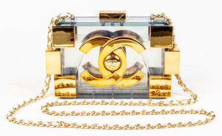 Lucite And Gilt Metal Clutch Handbag