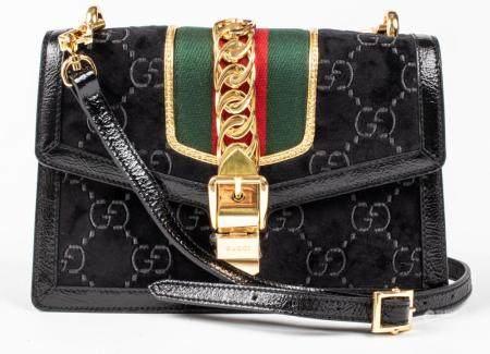 Black Velour And Leather Handbag