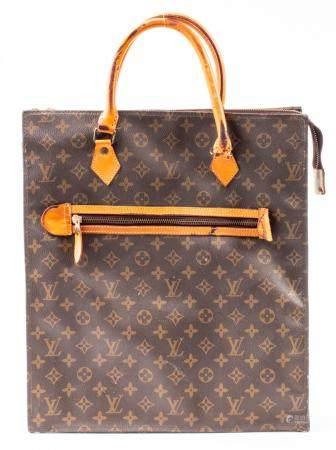 Brown Canvas Shopping Tote Handbag