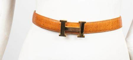 Tan Ostrich-Print Leather & Gold-Tone 'H' Belt