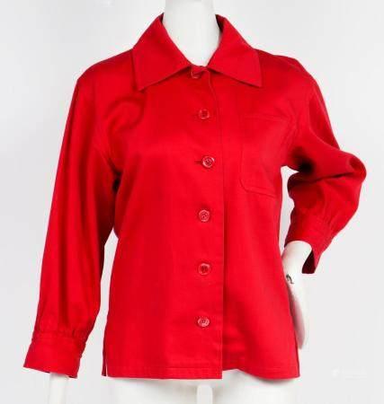 Yves Saint Laurent Designer Red Utility Shirt