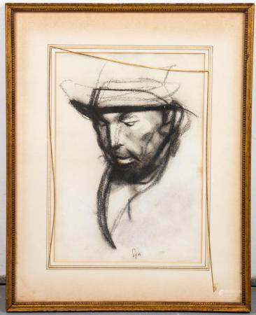 Pietro Annigoni Attrib. Portrait of a Man Charcoal