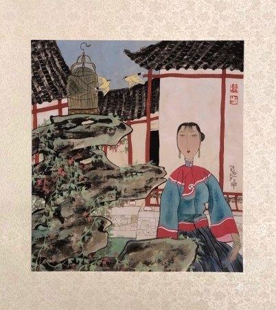 "Hu Yongkai Inscription,  ""Lady By Lakeside"" Painting"