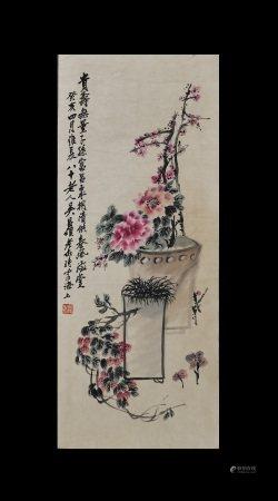 Wu Changshuo Inscription, Flowers and BirdsPainting