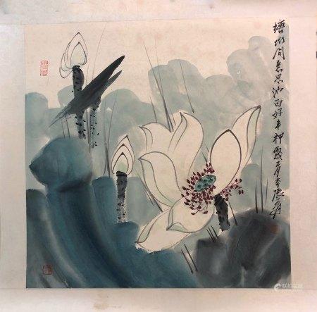 """Zhang Daqian Inscription, """"Lotus Flower"""" Painting"""