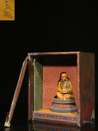 "The Minguo Period ""Yu Xuan"" Mark, Hand Craving Arhat Statue China Shoushan Field-yellow Stone Ornament"