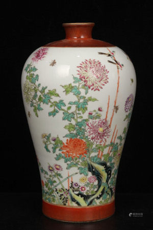 QingEmperor YongzhengPeriod Mark, Famille Rose Glaze Flowers and BirdsPainting Porcelain Vase