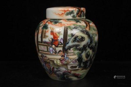 QingEmperor YongzhengPeriod Mark, Famille Rose Glaze Flowers and BirdsPainting Porcelain Tea Caddy