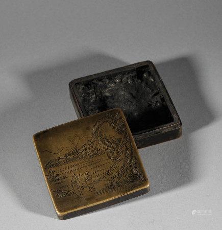 清代.銅製墨盒
