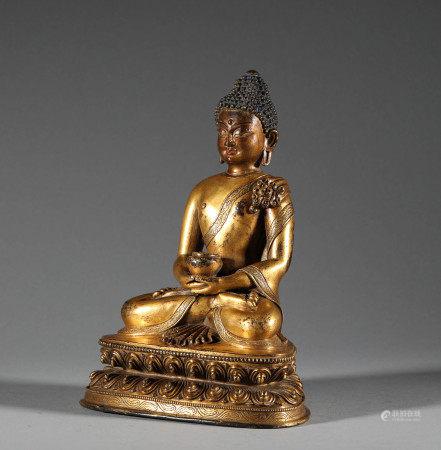 清代.銅鎏金阿彌陀佛