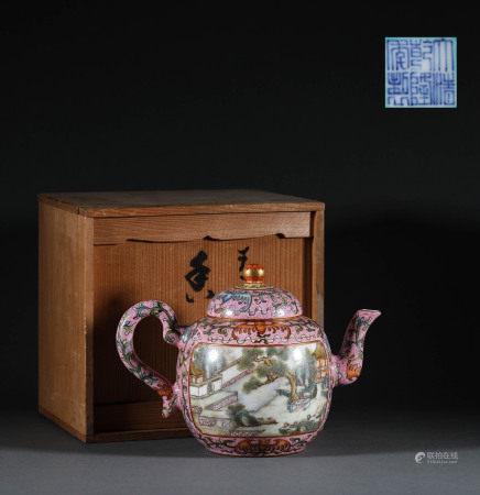 清代.粉彩茶壺