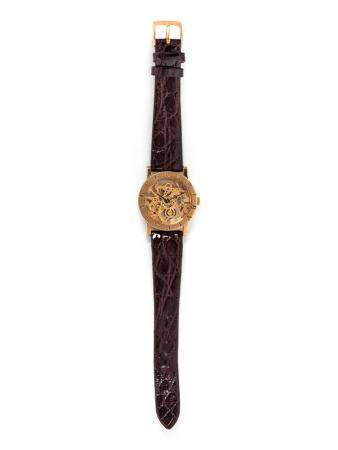 BVLGARI, 18K PINK GOLD SKELETON WRISTWATCH
