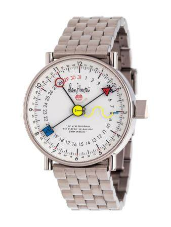 ALAIN SILBERSTEIN, STAINLESS STEEL LIMITED EDITION 'PIKTO-SMILEDAY LE PERPETUAL AUTOMATIQUE' WRISTWATCH