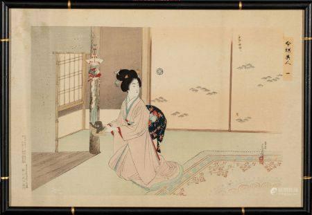 "ESTAMPE OBAN YOKO-E de TOSHIKATA :  série ""IMAYO BIJIN"" N°1 bijin disposant les  décorations du"