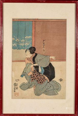 ESTAMPE OBAN TATE-E de KUNIYOSHI:  act jouant KOSEN épouse de GONTA  dans la pièce GOBAN TAD