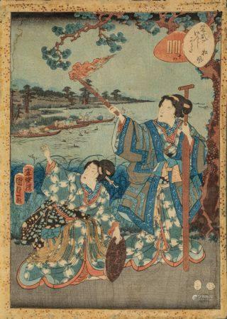 "ESTAMPE OBAN TATE-E de KUNISADA II :  série ""MURASAKI SHIKIBU GENJI KARUTA""  chapitre 18, ""MATS"