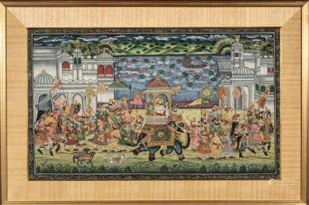 GOUACHE sur tissus : procession d'un  maharaja à dos d'éléphant devant un palais. Inde XIXe siè
