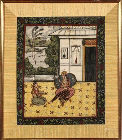 GOUACHE sur tissus: couple buvant et ser vante sur la terrasse d'un palais. Inde XIXe siècle  (
