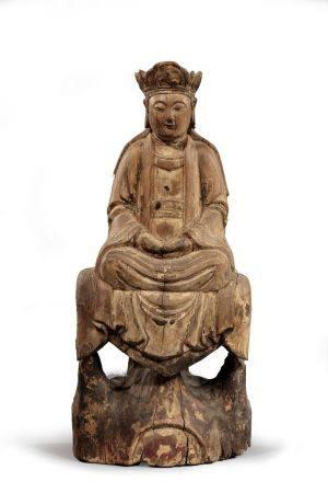 KWAN IN reliquaire en bois. Chine dynastie Qing XIXe siècle,  H. 39,5 cm