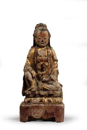 KWAN IN reliquaire en bois . Chine dynastie Qing XIXe siècle, H. 25 cm