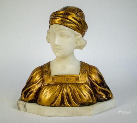 Antique marble Art Nouveau bust P. Balestra