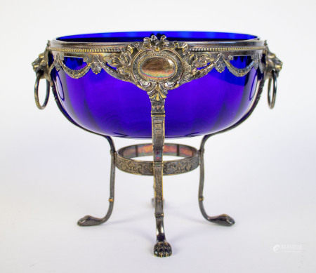 Blue glass cup in silver WMF frame