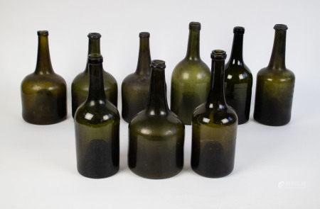 Lot old glass bottles