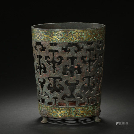 CHINESE BRONZE FURNACE INLAID WITH GOLD AND TURQUOISES, WARRING STATES PERIOD