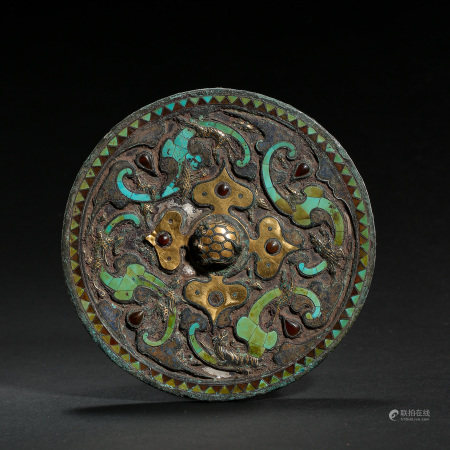 CHINESE BRONZE MIRROR INLAID WITH GOLD, SILVER AND TURQUOISES, WARRING STATES PERIOD