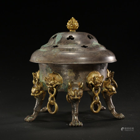 CHINESE PARTIAL SILVER GILT BRONZE INCENSE BURNER, TANG DYNASTY