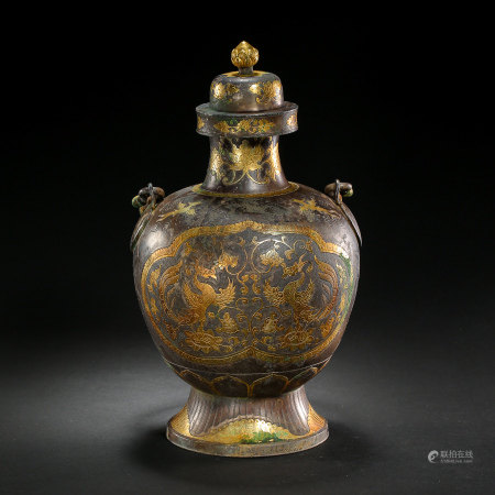 CHINESE SILVER PARTIAL GILT HANDLE POT, TANG DYNASTY
