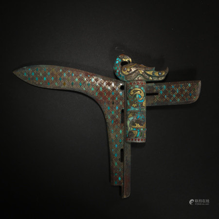 CHINESE BRONZE GE INLAID WITH GOLD, SILVER AND TURQUOISES, WARRING STATES PERIOD