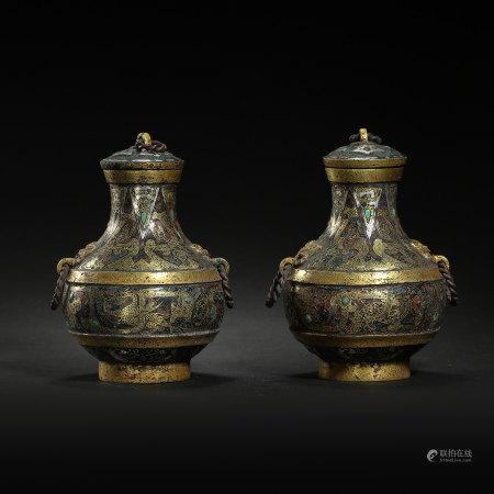 A PAIR OF CHINESE ROUND BOTTLES INLAID WITH GOLD AND SILVER, WARRING STATES PERIOD