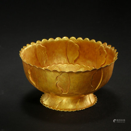 CHINESE PURE GOLD FLOWER MOUTH BOWL, TANG DYNASTY