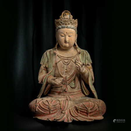 CHINESE WOOD CARVED GUANYIN, SONG DYNASTY